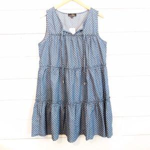 Chambray Denim Polka Dot Tie-Front Tiered Dress